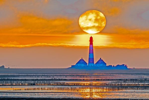 Leuchtturm Westerhever, Sonnenuntergang